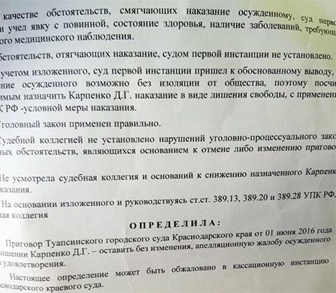 Апелляционное определение по делу Дмитрия Карпенко