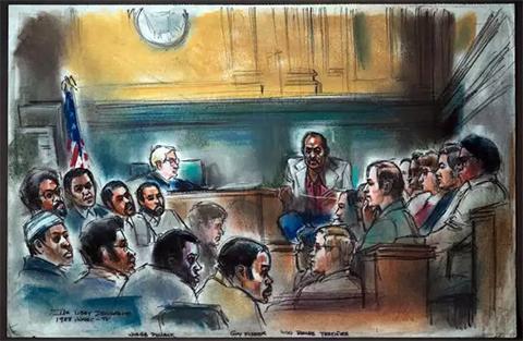 Ники Барнс дает показания в суде. На скамье обвиняемых члены Совета и бывшие друзья Барнса. Рисунок Ida Libby Dengrove