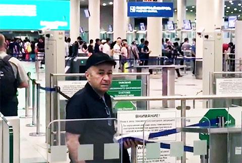 Резо Бухникашвили (Пецо) перед вылетом в Грузию, 01.08.2017, Москва