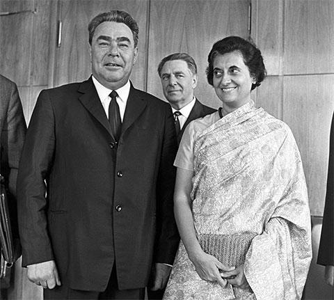 Индира Ганди и Леонид Брежнев