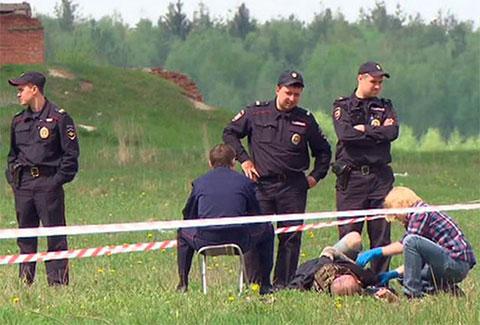 Место расстрела байкеров близ деревни Челохово