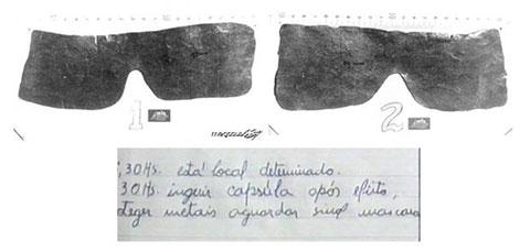Найденные свинцовые маски и записка