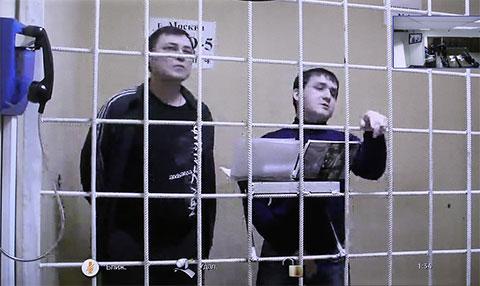 Фигуранты дела о поставке аргентинского кокаина в Россию Владимир Калмыков и Иштимир Худжамов во время рассмотрения жалобы в Мосгорсуде на продление их ареста