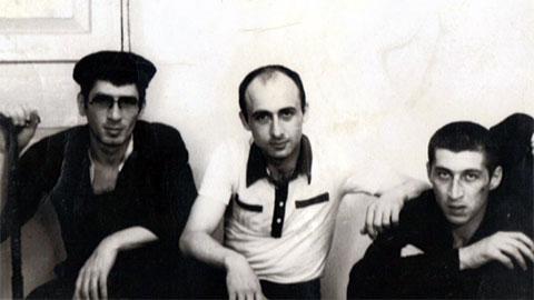Слева воры в законе: Эдишер Шовнадзе, Гиви Парцхаладзе (Дудука) и Тариел Качарава, 1982 год, Грузия, ИТК-46