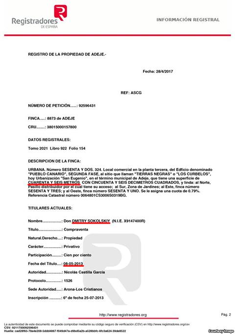 Коммерческое помещение в Адехе было продано Дмитрию Сокольскому