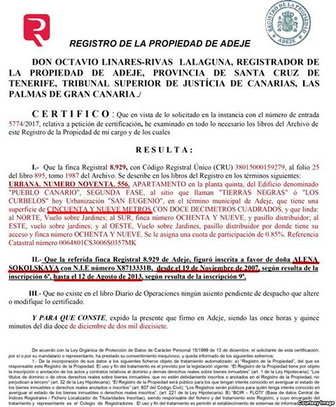 Документ, подтверждающий, что Алена Сокольская владела квартирой в 59 кв.м в Адехе с 2007 по 2013 г.