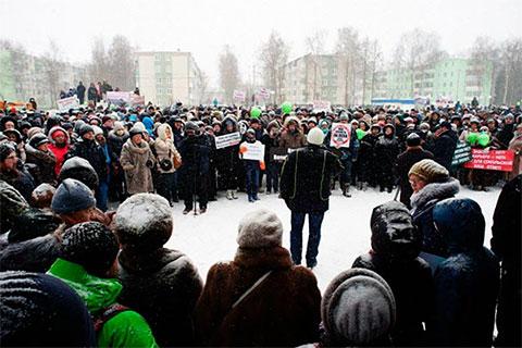 4 марта в подмосковном Клину на митинг против свалки собралось более 4000 человек