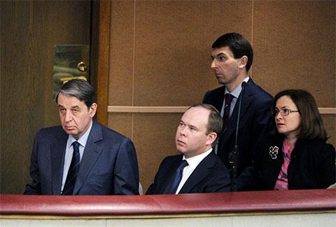 Антон Вайно с Александром Авдеевым, Игорем Щеголевым и Эльвирой Набиуллиной