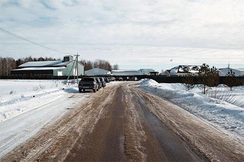 Дорога, ведущая к территории агрохолдинга «Боброво»