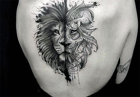 Тату лев для девушек