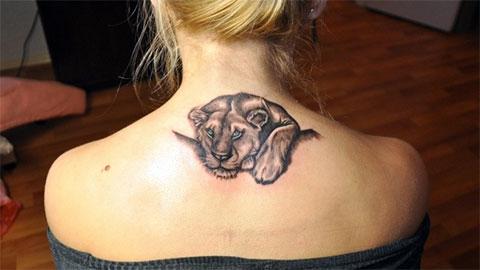Татуировка львицы на спине у девушки