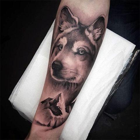 Тату волка на руке мужские фото