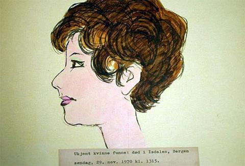 Набросок восстановленного художником профиля женщины из долины Исдален
