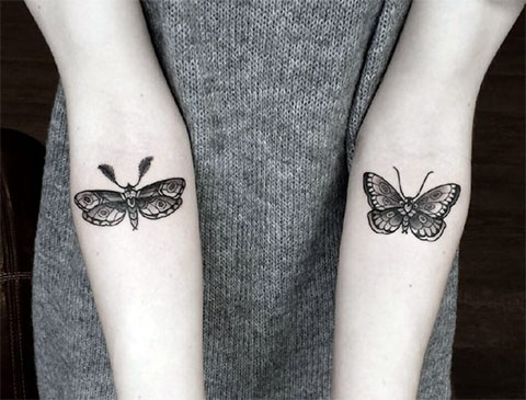 Тату бабочки на руке для девушек
