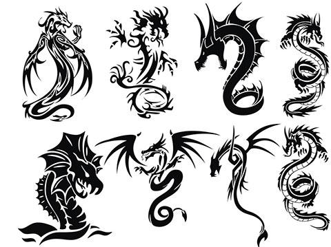 Эскизы для тату с драконами