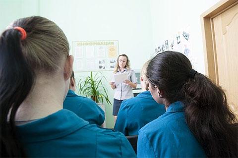 Учебный класс в Новооскольской колонии для несовершеннолетних девочек