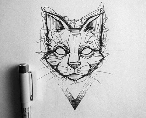 Эскиз для татуировки с кошкой