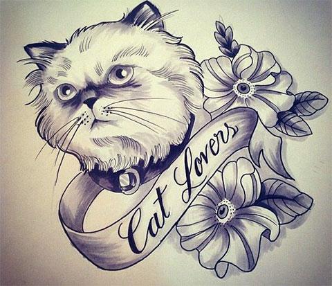 Эскиз тату кошка для девушек