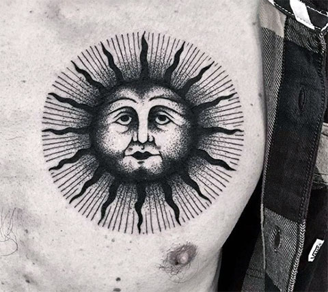 Тату черное солнце